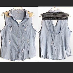 Gimmicks by BKE Distressed Jean Shirt Size L